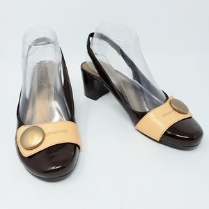 Franco Sarto Brown Patent Tan Leather Gold Button